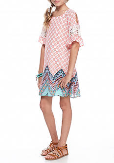 SEQUIN HEARTS girls Cold Shoulder Borderprint Dress Girls 7-16