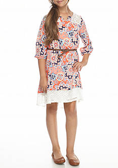 SEQUIN HEARTS girls Coral Floral Lace Trim Boho Dress Girls 7-16