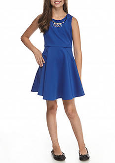 My Michelle Sleeveless Fit-and-Flare Dress with Necklace Girls 7-16