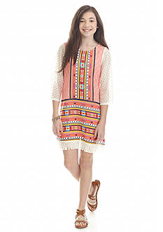 Sequin Hearts Tribal Printed Dress Girls 7-16