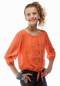 Sequin Hearts Tie-Front Crochet Top Girls 7-16