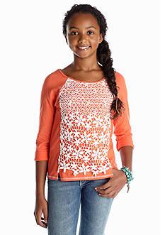 Sequin Hearts Crochet Front Tee Girls 7-16