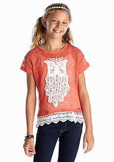 Sequin Hearts Owl Crochet Sweater Girls 7-16