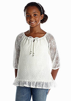 Sequin Hearts Crochet Peasant Top Girls 7-16