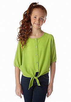 Sequin Hearts Solid Tie Front Top Girls 7-16