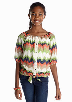 Sequin Hearts Chevron Chiffon Tie Front Top Girls 7-16