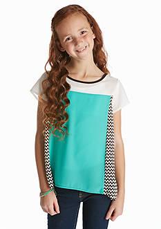 Sequin Hearts Colorblock Chevron Top Girls 7-16