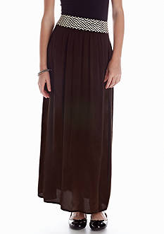 Sequin Hearts Maxi Skirt with Chevron Waistband Girls 7-16