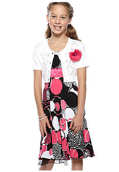 Sequin Hearts Print Pleated Sweater Dress Girls 7-16