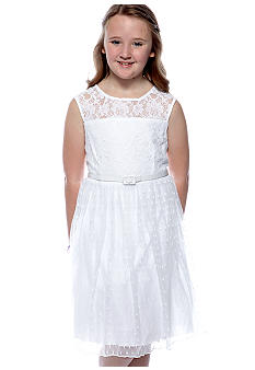 Sequin Hearts Girls 7-16 Lace Illusion Dress