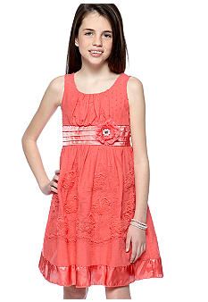 Sequin Hearts Floral Stitch Dress Girls 7-16