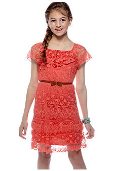 Sequin Hearts Lace Belt U-Neck Ruffle Dress Girls 7-16