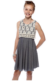 Sequin Hearts Denim Lace Overlay Dress Girls 7-16
