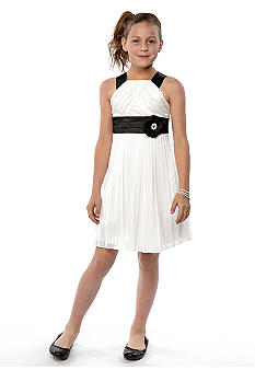 My Michelle Pleat Black Trim Dress Girls 7-16