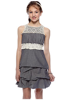 Sequin Hearts Denim Smock Waist Dress Girls 7-16