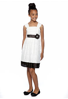 My Michelle Lace Black Trim Dress Girls 7-16