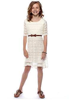 Sequin Hearts Lace Belt Hi Low Hem Dress Girls 7-16