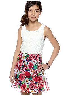 My Michelle Lace And Floral Print Dress Girls 7-16