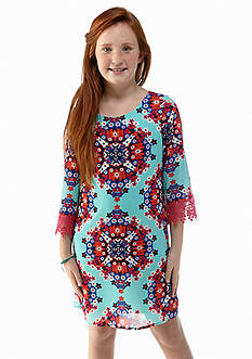 Sequin Hearts Chemise Printed Lace Sleeve Dress Girls 7-16