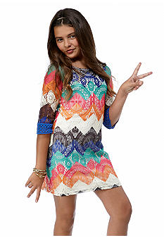 Sequin Hearts Zig Zag Crochet Dress Girls 7-16