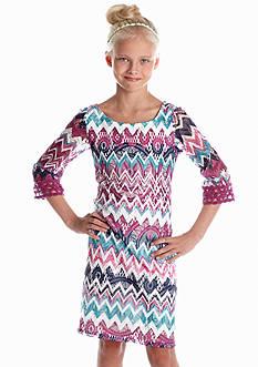 Sequin Hearts Lace Chevron Dress Girls 7-16