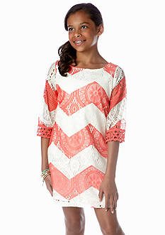 Sequin Hearts Chevron Crochet Dress Girls 7-16
