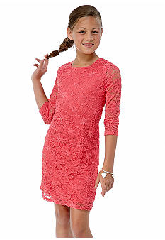 Sequin Hearts Lace Zipper Back Dress Girls 7-16