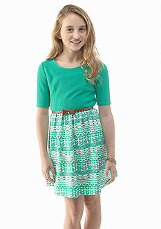 Sequin Hearts Solid to Print Knit Dress Girls 7-16