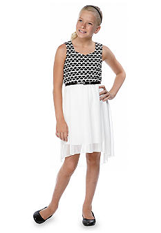 Sequin Hearts Social Dot Belted Dress Girls 7-16