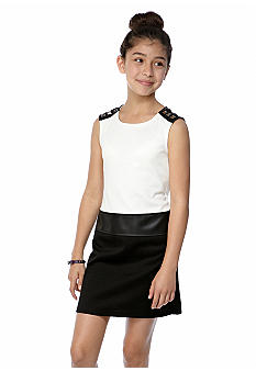 Sequin Hearts Color Block Leather Trim Dress Girls 7-16