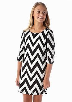 Sequin Hearts Chevron Shift Dress Girls 7-16
