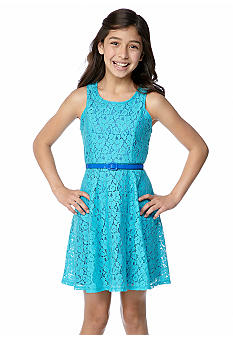 Sequin Hearts Belted Lace U-Neck Dress Girls 7-16