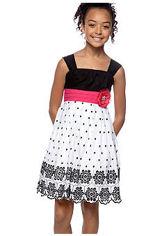 Sequin Hearts Polka Dot Bow Dress Girls 7-16