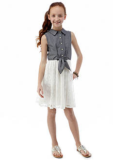 Sequin Hearts Denim to Lace Dress Girls 7-16