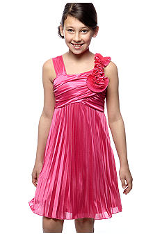 Sequin Hearts Girls 7-16 Solid Pleated Accordion One Shoulder Flower Dress