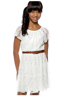 Sequin Hearts Lace Belted Dress Girls 7-16