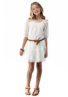 Sequin Hearts Lace High-Low Belted Dress Girls 7-16