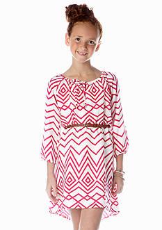 My Michelle Chevron Belted Dress Girls 7-16