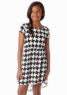 Sequin Hearts Houndstooth Bow Back Dress Girls 7-16