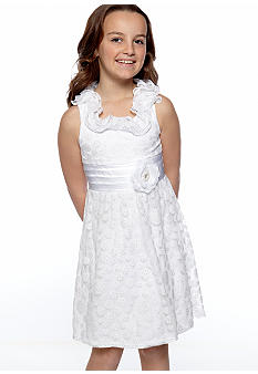 Sequin Hearts Dot Ruffle U-Neck Dress Girls 7-16