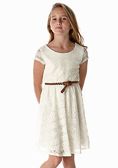Sequin Hearts Ivory Lace Belted Dress Girls 7-16
