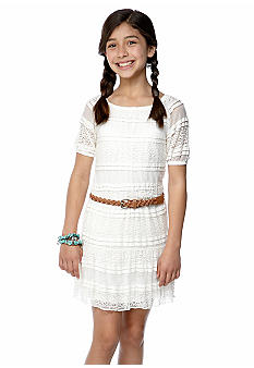 Sequin Hearts Belted Lace Dress Girls 7-16
