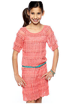 Sequin Hearts Solid Lace Belted Dress Girls 7-16