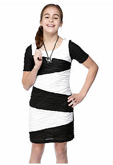 Sequin Hearts Zig Zag Body Con Dress Girls 7-16