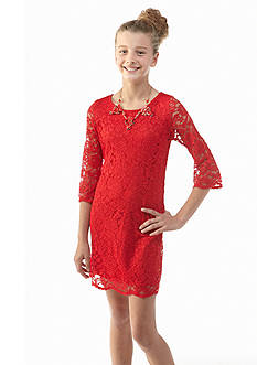 Sequin Hearts Scallop Lace Shift Dress Girls 7-16
