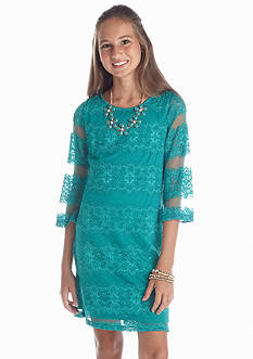 Sequin Hearts Lace Shift Dress Girls 7-16