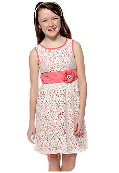Sequin Hearts Solid Lace Overlay Dress Girls 7-16