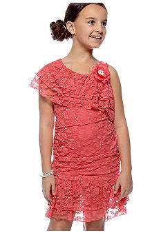 Sequin Hearts Girls 7-16 Soild Lace One Shoulder Dress