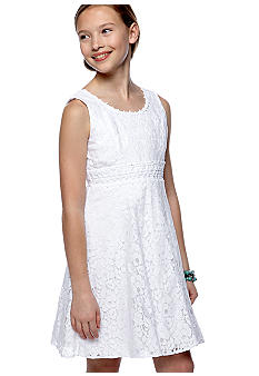 Sequin Hearts Lace Overlay Dress Girls 7-16