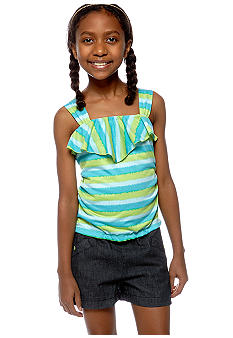 Sequin Hearts Ruffle Stripe Romper Girls 7-16